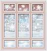 Vektor Cliparts: Winter-Stadt-Fenster, Tapeten Weihnachten Vektor-Illustration