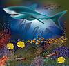 Unterwasser-Tapete mit Hai und alte Schiff, Vektor