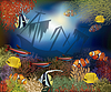 Unterwasser-Welt-Cover-Design, Vektor-Illustration