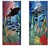 Unterwasser-Landschaft Banner Set, Vektor-Illustration