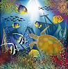Unterwasser-Tapete mit Meeresschildkröte, Vektorillustrati