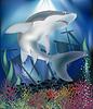 Векторный клипарт: Подводные обои с Shark, векторные иллюстрации