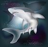 Векторный клипарт: Подводная карта с акулой, векторные иллюстрации