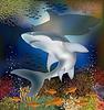 Векторный клипарт: Подводный фон с акулы, векторные иллюстрации