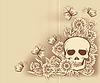 Векторный клипарт: Хэллоуин старинные фон с черепом, вектор