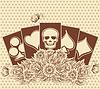 Векторный клипарт: Хэллоуин фон покер карты, векторные иллюстрации