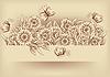 Vektor Cliparts: Vintage-Blumenkarte, Vektor-Illustration