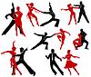 Silhouetten der Paare tanzen Standardtänzen.