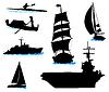 Silhouetten von Offshore-Schiffe - Yacht, Fischerboot,