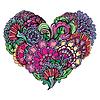 Colores brillantes abstractos paisley ornamento de corazón | Ilustración vectorial