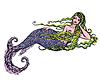 Muchacha hermosa sirena en | Ilustración vectorial