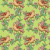 无缝模式与多彩鸟和绽放 | 向量插图