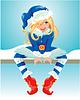 Blondy Mädchen tragen blaue Weihnachtsmann-Kostüm.