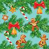 Nahtloses Muster mit Weihnachtstannenzweigen,