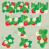 Linienverzierung mit Erdbeeren in Herzformen wit