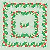 Quadratische Rahmen mit Erdbeeren, Blumen und