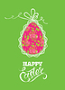 Feiertagsgrußkarte mit Ei, Spitze, Band auf