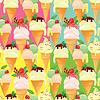Set von nahtlosen Mustern mit Eistüten mit