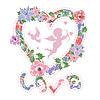 在心脏的形状花卉框架 | 向量插图