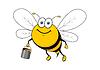 Cartoon lächelnd Biene fliegt mit Honig Eimer