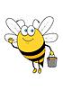 Cartoon fliegende Biene mit Honig Eimer winkenden Hand