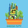 Grüne Stadt Öko-Konzept mit modernen urbanen Landschaft
