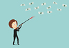 Business-Frau jagt Geld mit Jagdgewehr