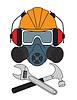 Worker in Helm, Atemschutz, Schutzbrille und Kopfhörer