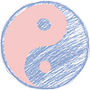 Doodle yin Yang-Symbol. Rosenquarz und Gelassenheit