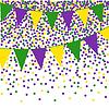Mardi Gras bunting Hintergrund mit Konfetti | Stock Vektrografik