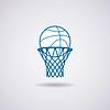 Basketball-Ball und Netz-Symbol