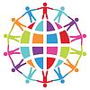 Menschen auf der ganzen Welt, Frieden oder Reise-Konzept