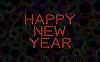 С Новым годом из красного сердца на абстрактные | Иллюстрация