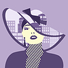 Doppelbelichtung. Frau mit Stadt in ihrem Hut