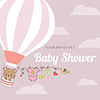 Baby-Dusche-Karte mit dem Heißluftballon