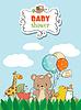 Vektor Cliparts: Schöne Baby-Dusche-Karte