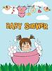 Vektor Cliparts: Schönes Baby-Dusche-Karte