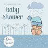 Vektor Cliparts: Baby-Dusche-Karte mit lustigen kleinen Baby