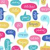 Vektor Cliparts: Sprechblasen mit Hallo auf verschiedenen Sprachen