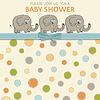 Vektor Cliparts: Zarte Baby-Dusche-Karte mit kleinen Elefanten