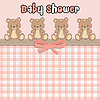 Vektor Cliparts: Zarte Baby-Dusche-Karte mit Teddybären