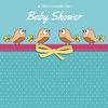 Vektor Cliparts: Zarte Baby-Dusche-Karte mit kleinen Vögel