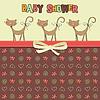 Vektor Cliparts: Zarte Baby-Dusche-Karte mit Katzen
