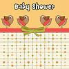 Vektor Cliparts: Zarte Baby-Dusche-Karte mit dressed Vögel