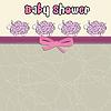 Vektor Cliparts: Zarte Baby-Dusche-Karte mit lila Schaf