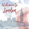 Vektor Cliparts: Tintenlinie Skizze von London. Aquarell Hintergrund
