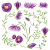 Vektor Cliparts: Aquarell floral set