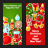 Merry Christmas and Happy New Year sticker banners | 向量插图