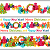 Merry Christmas and Happy New Year seamless borders | Stock Vector Graphics