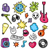 Vektor Cliparts: Music party kawaii Set. Musikinstrumente, Symbol